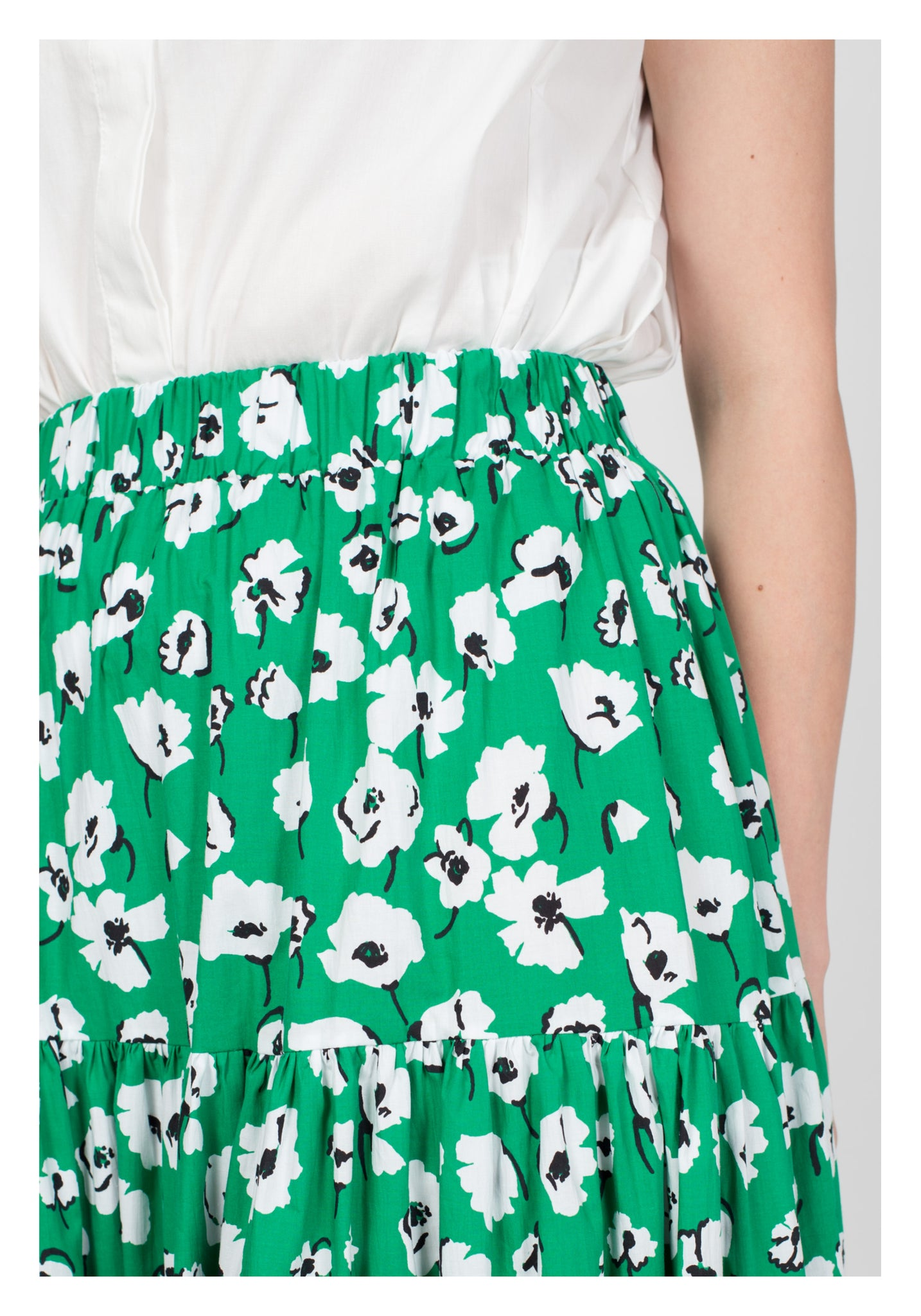 White Floral Tiered Skirt Green