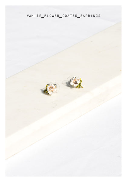 White Flower Coated Earrings - whoami