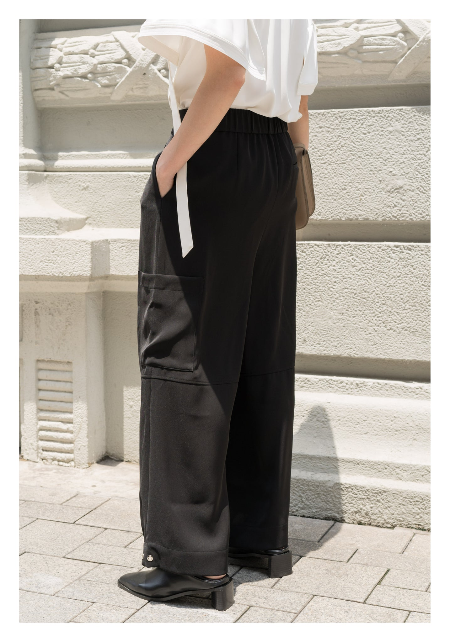 Drape Wide Leg Pants Black - whoami