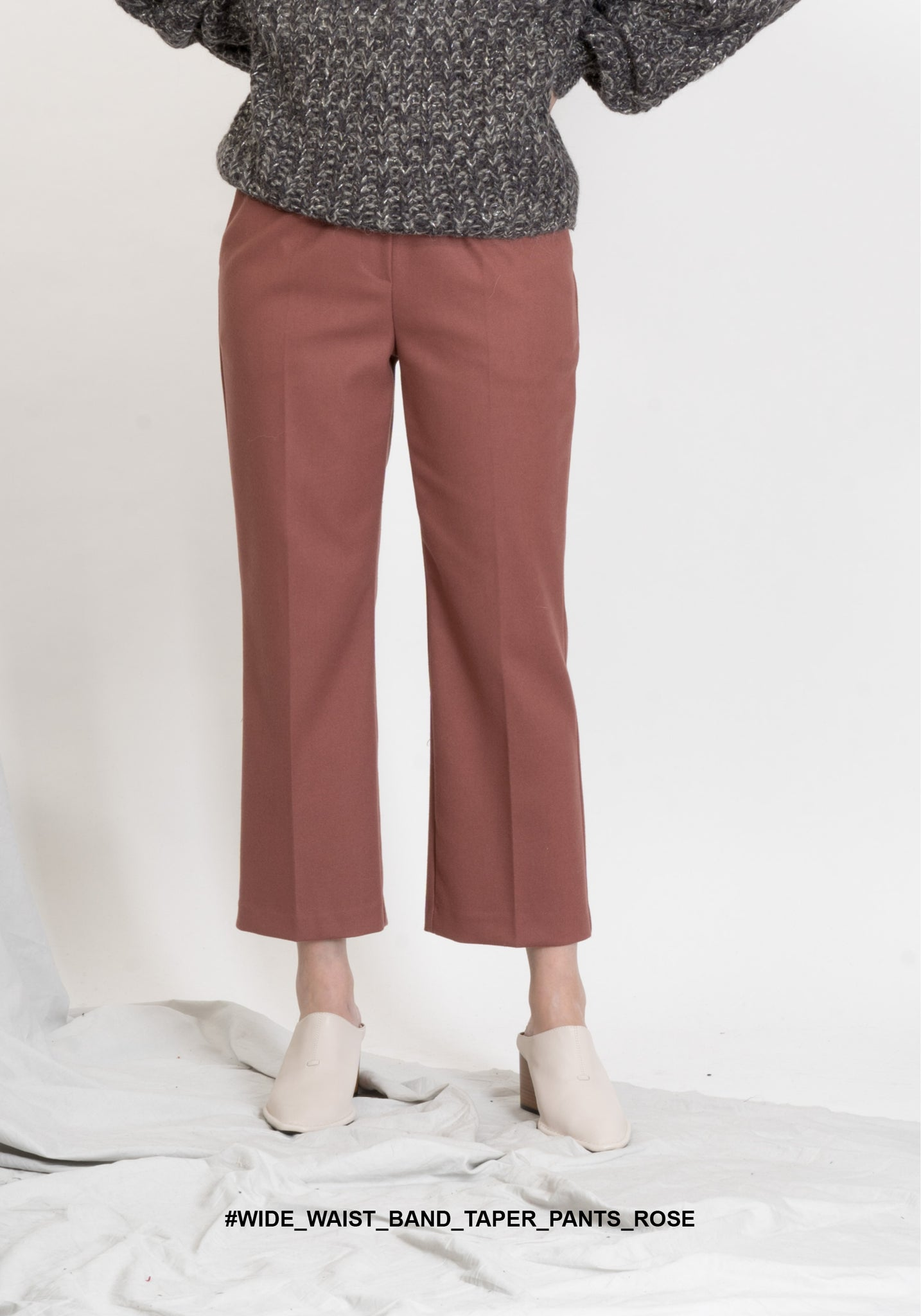 Wide Waist Band Taper Pants Rose - whoami