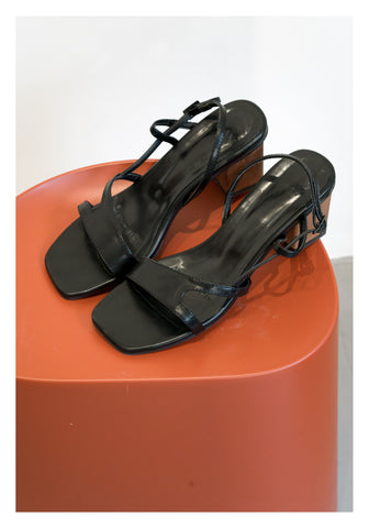 Wooden Heel Slot Sandals Black - whoami