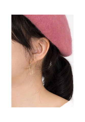 Leaf Line And Gem Earrings