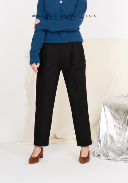 Wool Elastic Band Taper Pants Black - whoami