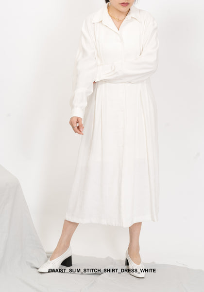 Waist Slim Stitch Shirt Dress White