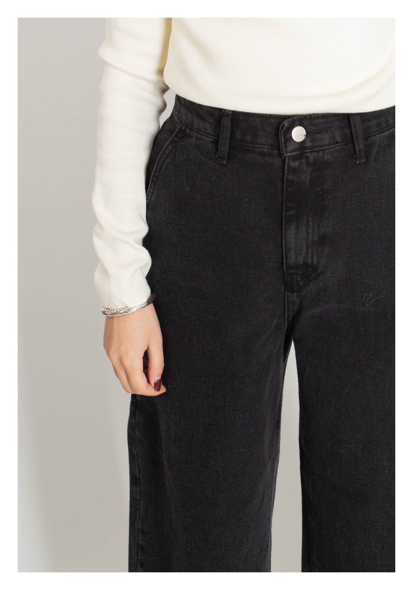 Washed Raw Hem Wide Leg Jeans Black - whoami