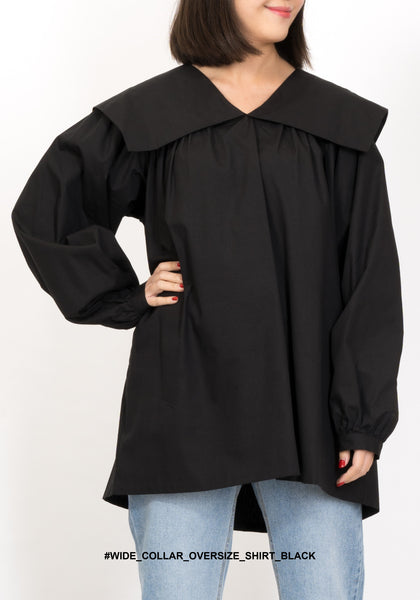 Wide Collar Oversize Shirt Black - whoami