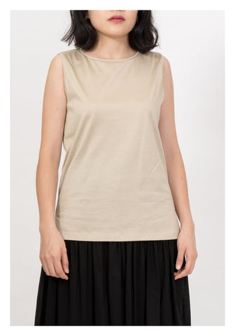 Wide Shoulder Cotton Tee Beige