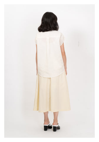Wide Shoulder Sleeveless Shirt Ivory