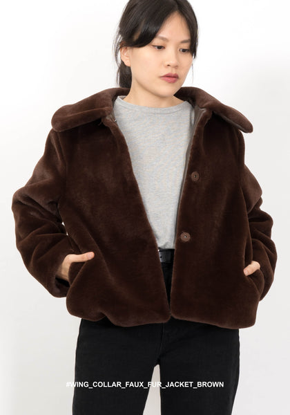 Wing Collar Faux Fur Jacket Brown