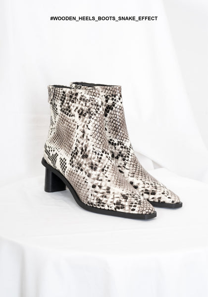 Wooden Heels Boots Snake Effect - whoami