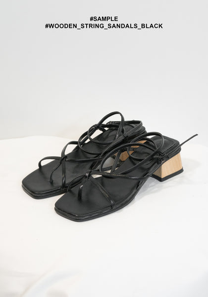 Sample Wooden String Sandals Black - whoami