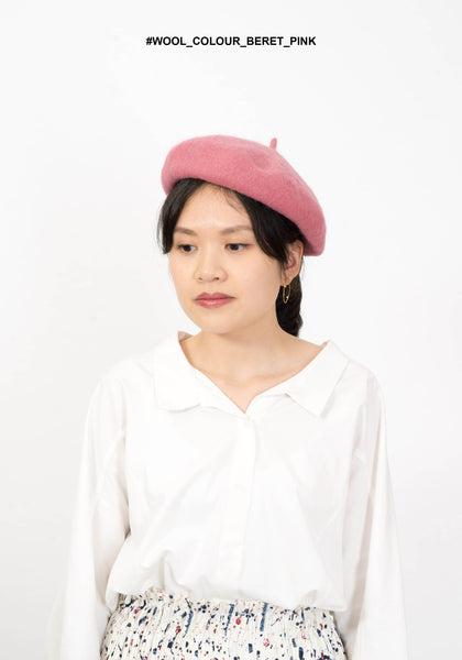 Wool Colour Beret Pink - whoami