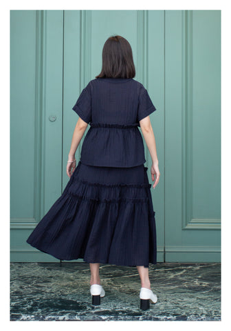 Wrinkle Texture Trimming Skirt Navy - whoami