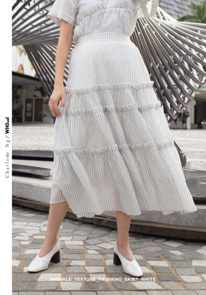 Wrinkle Texture Trimming Skirt White - whoami