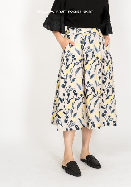 Yellow Fruit Pocket Skirt