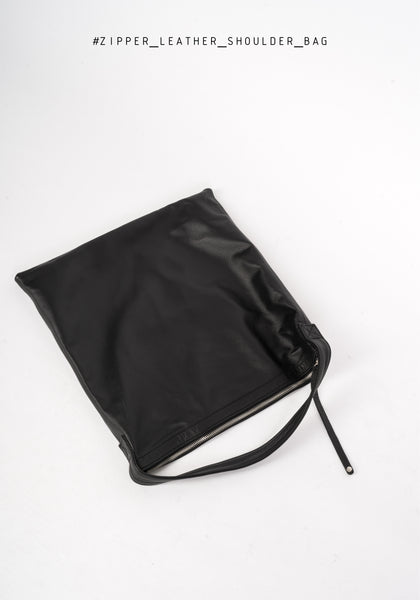 Zipper Leather Shoulder Bag - whoami