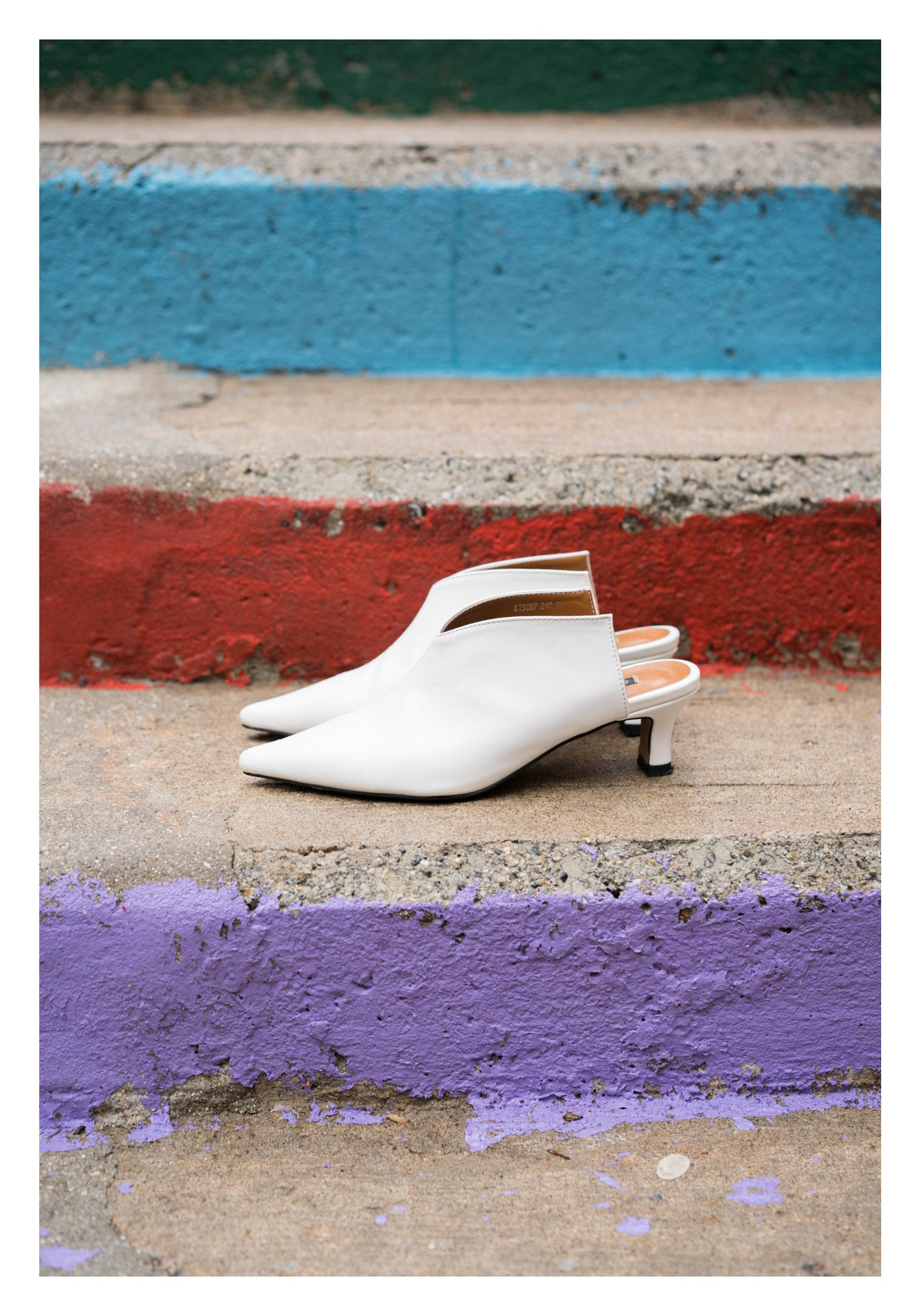 Arrow Pointed Mules White