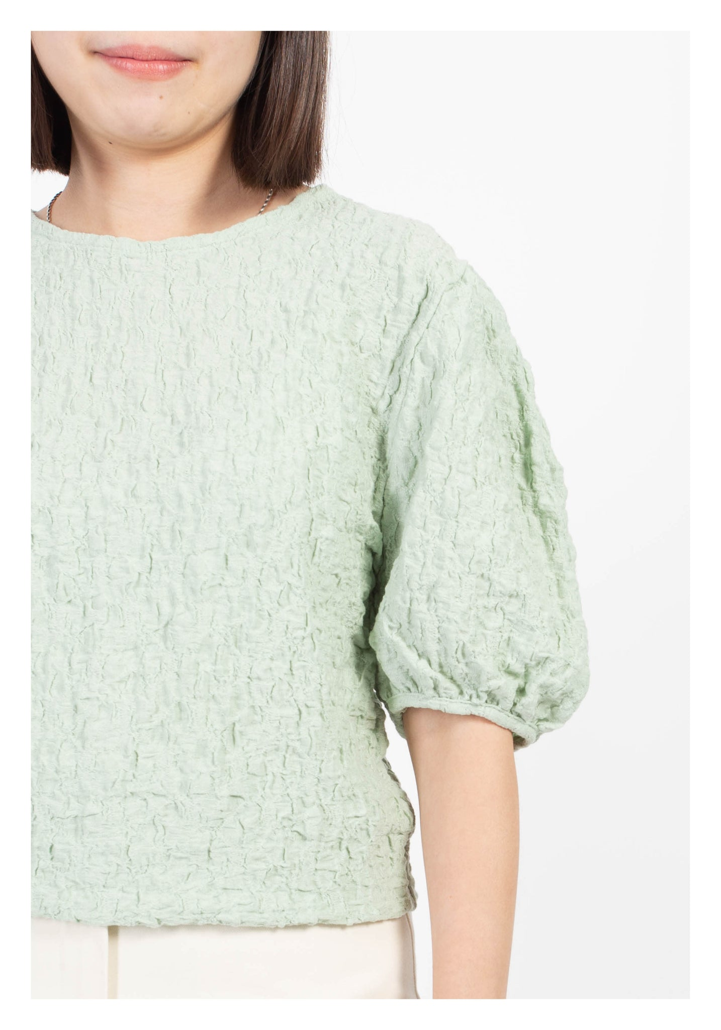 Textured Puff Sleeve Top Mint