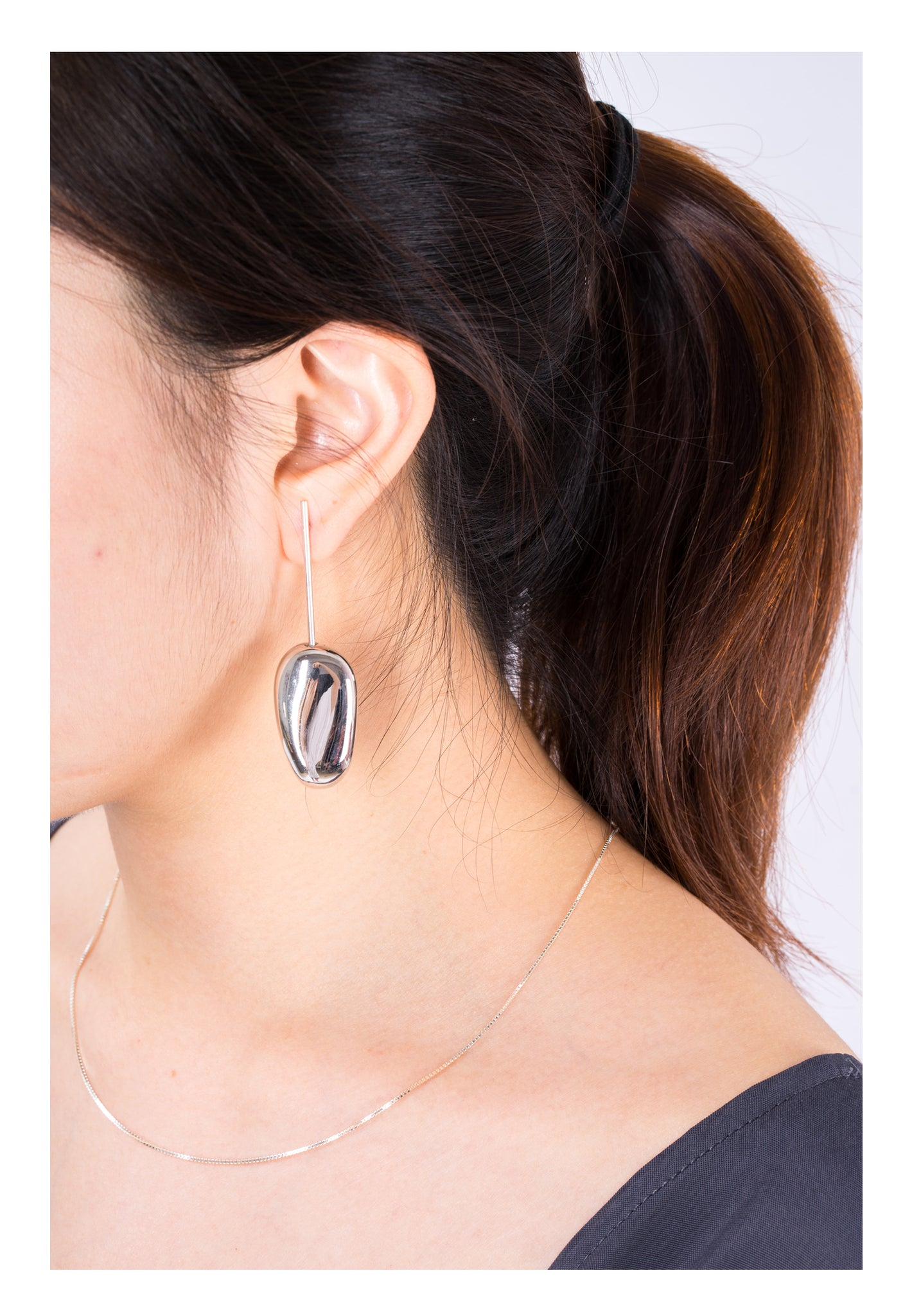 Bean Drop Earrings Silver