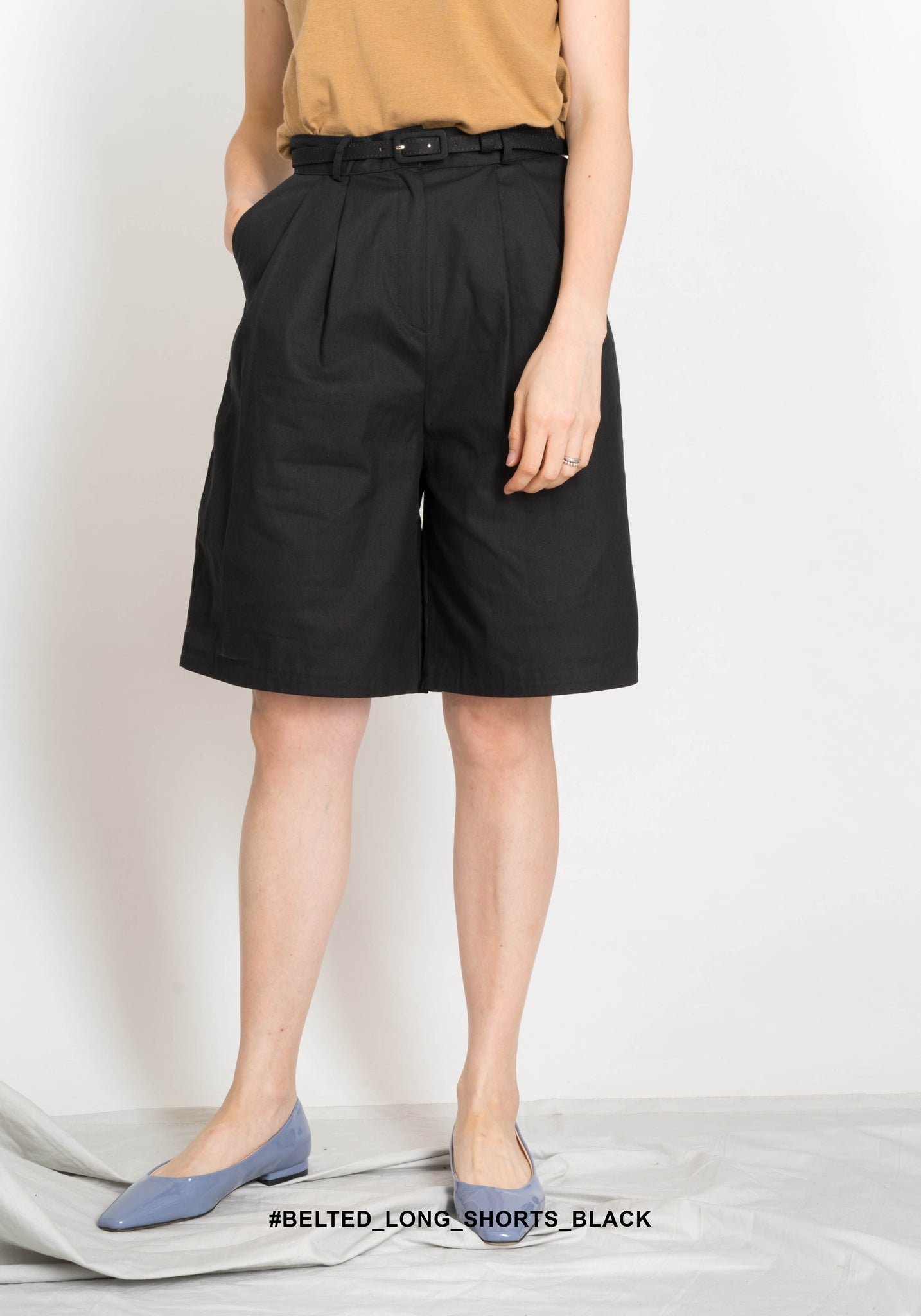 Belted Long Shorts Black - whoami