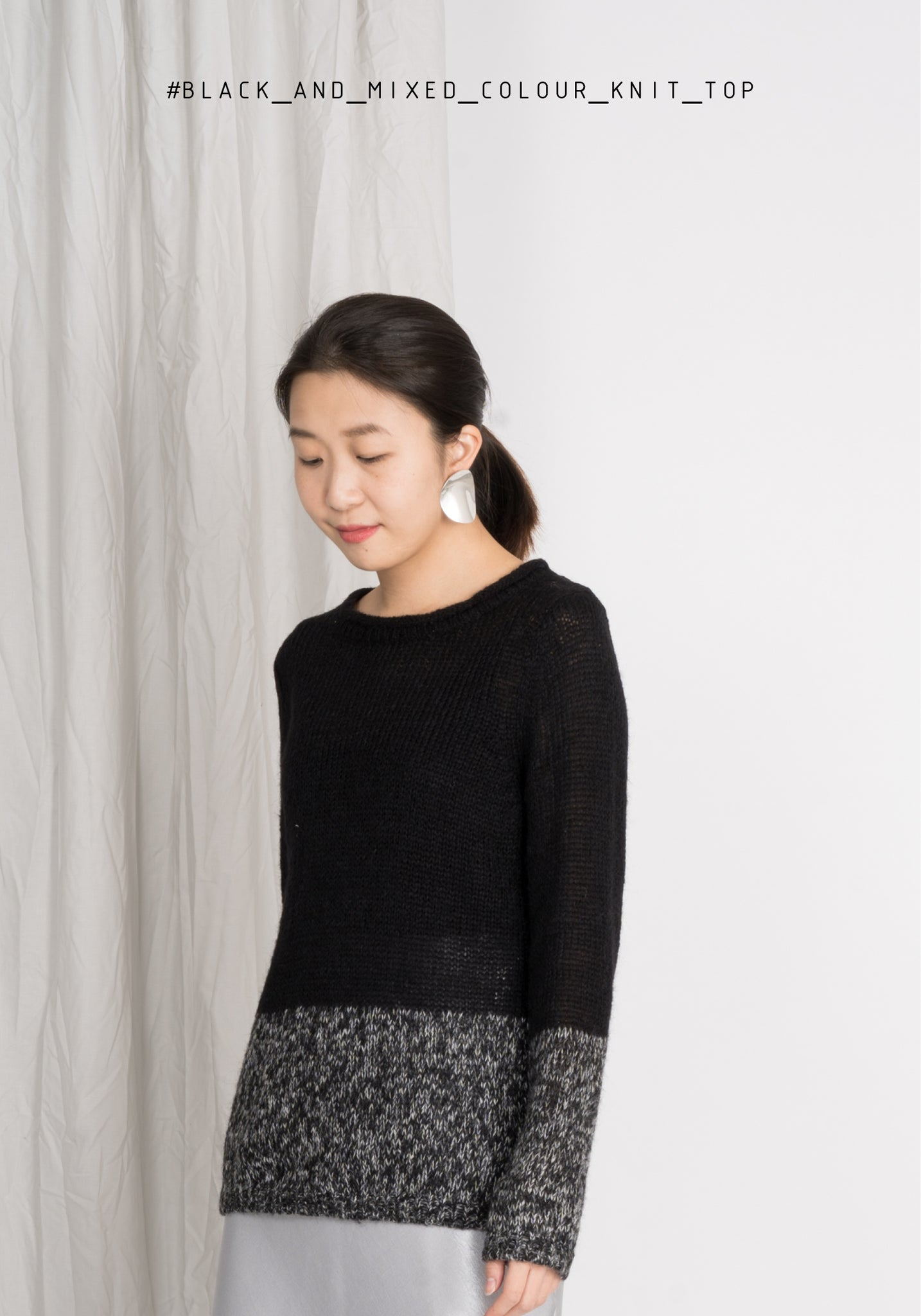 Black and Mixed Colour Knit Top
