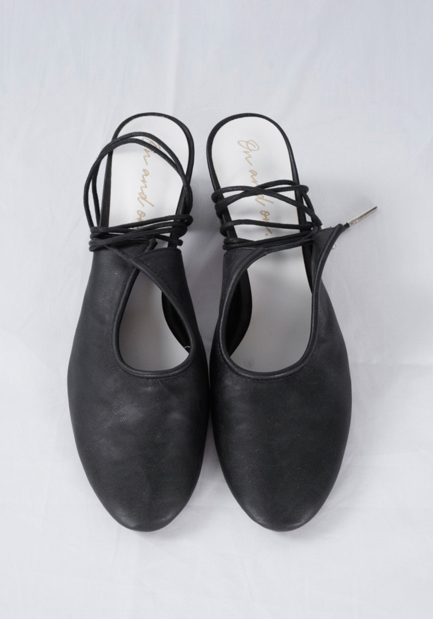 Sample Shoes - Black Lace Up Heels Mules - whoami