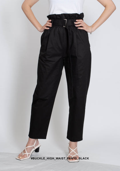 Buckle High Waist Pants Black