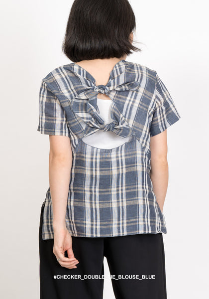Checker Double Tie Blouse Blue