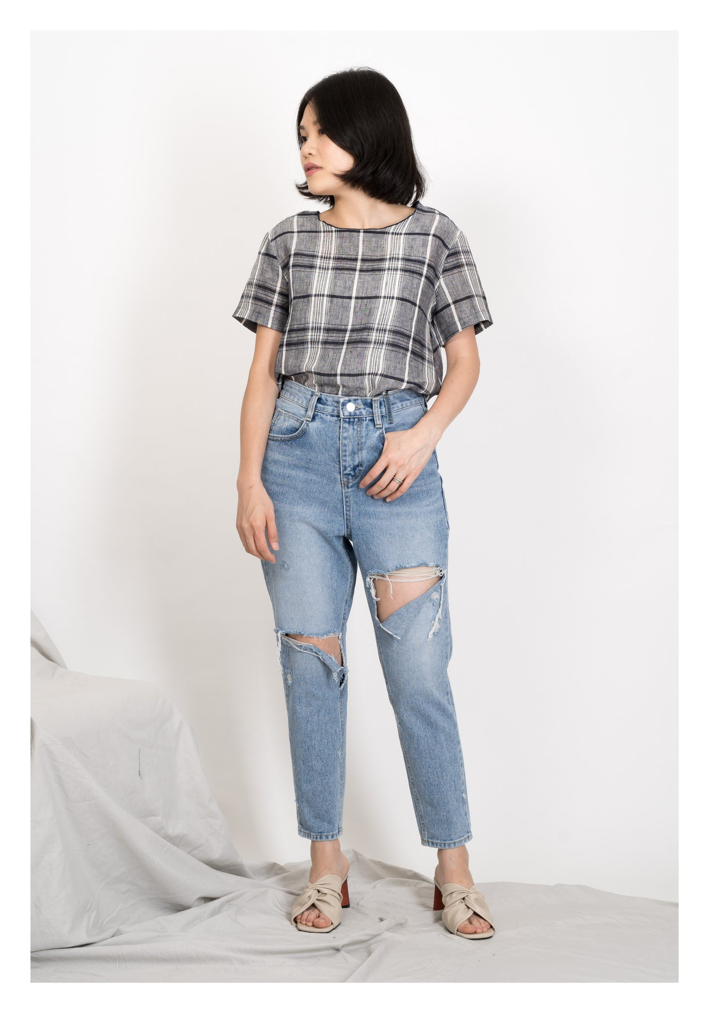 Checker Double Tie Blouse Grey - whoami
