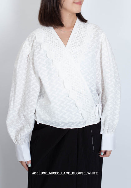 Deluxe Mixed Lace Blouse White - whoami
