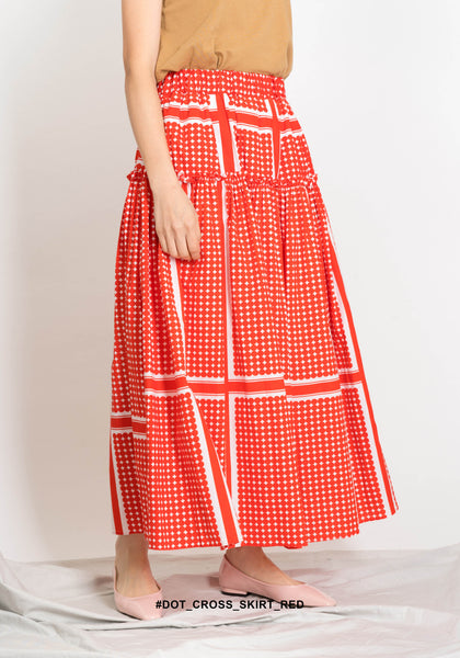 Dot Cross Skirt Red - whoami