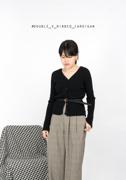Double V Ribbed Cardigan
