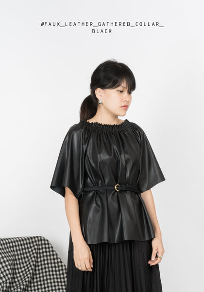 Faux Leather Gathered Collar Top Black
