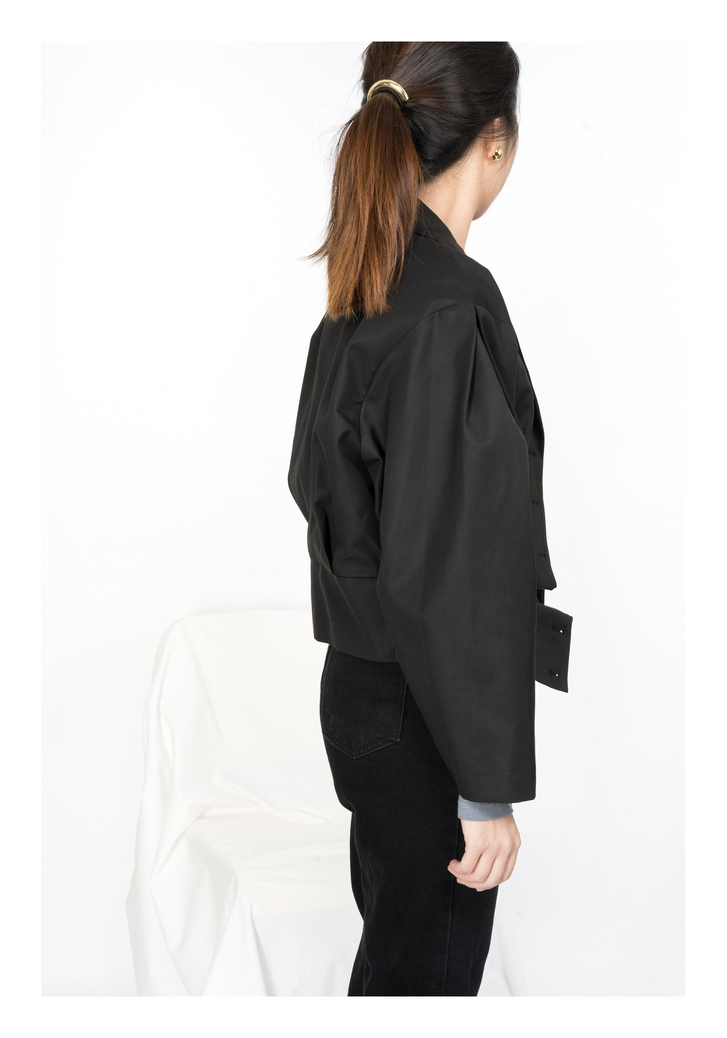 Folded Sleeve Cropped Jacket Black