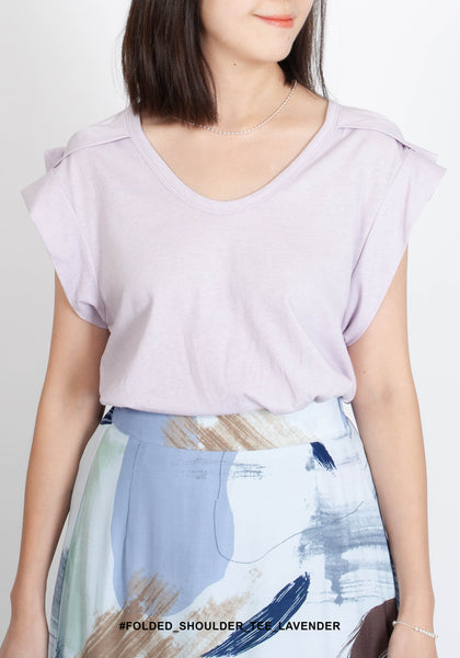 Folded Shoulder Tee Lavender