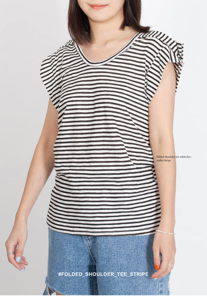 Folded Shoulder Tee Stripe