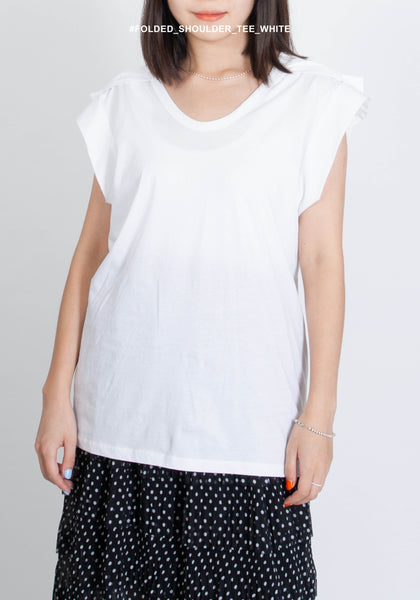 Folded Shoulder Tee White - whoami