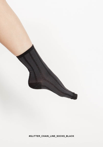 Glitter Chain Line Socks Black - whoami