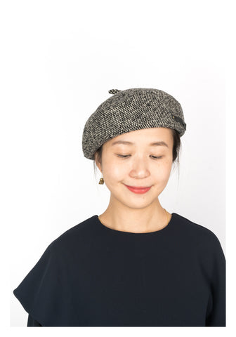 Houndstooth Wool Knit Beret