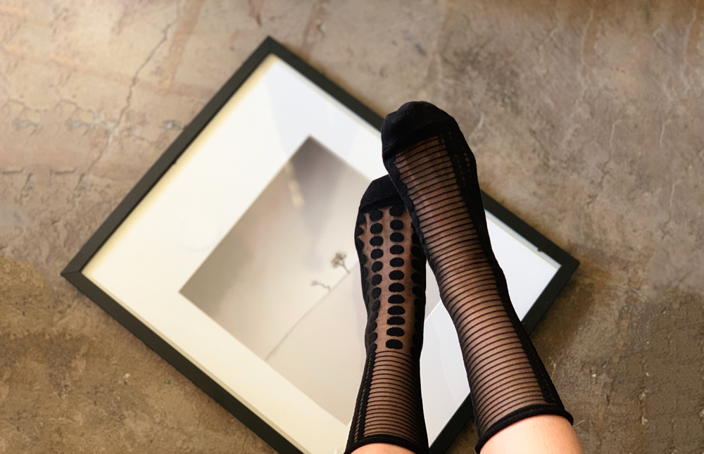 Midcalf Tulle Socks Noir Dot - whoami