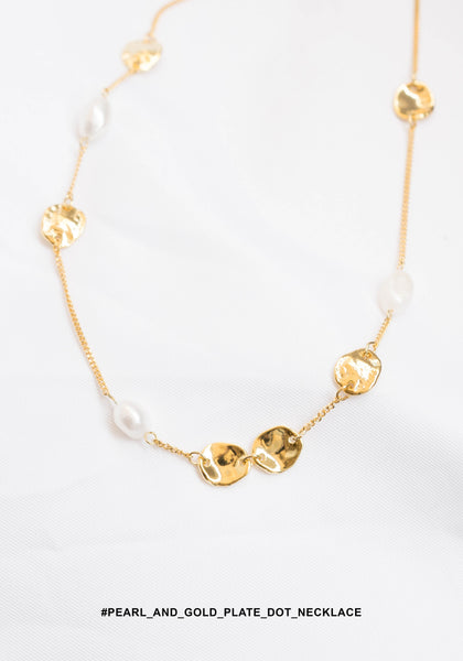 Pearl And Gold Plate Dot Necklace - whoami