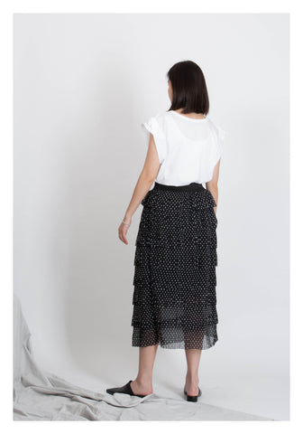 Polka Dot Tiered Skirt Black