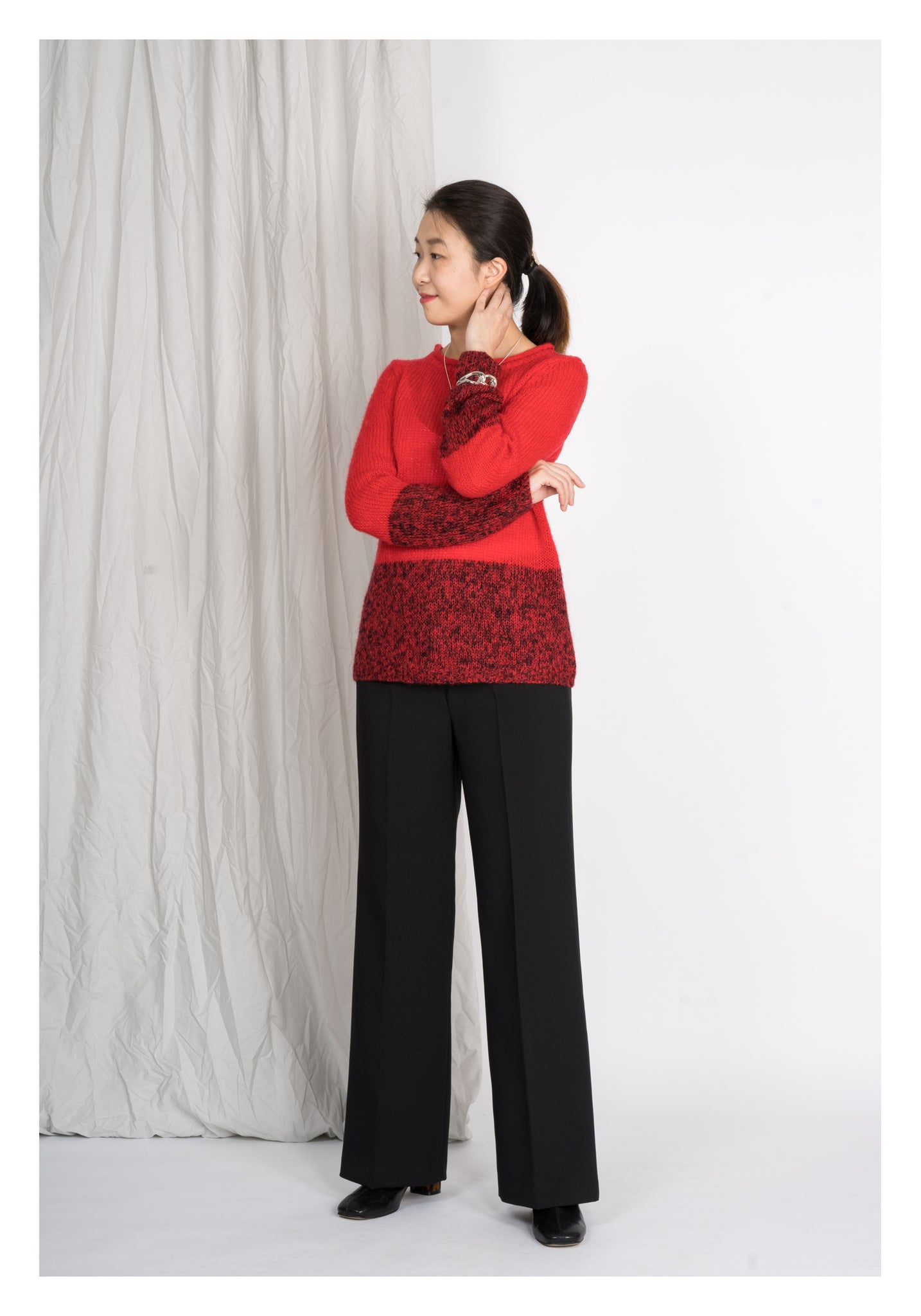 Red and Mixed Colour Knit Top - whoami