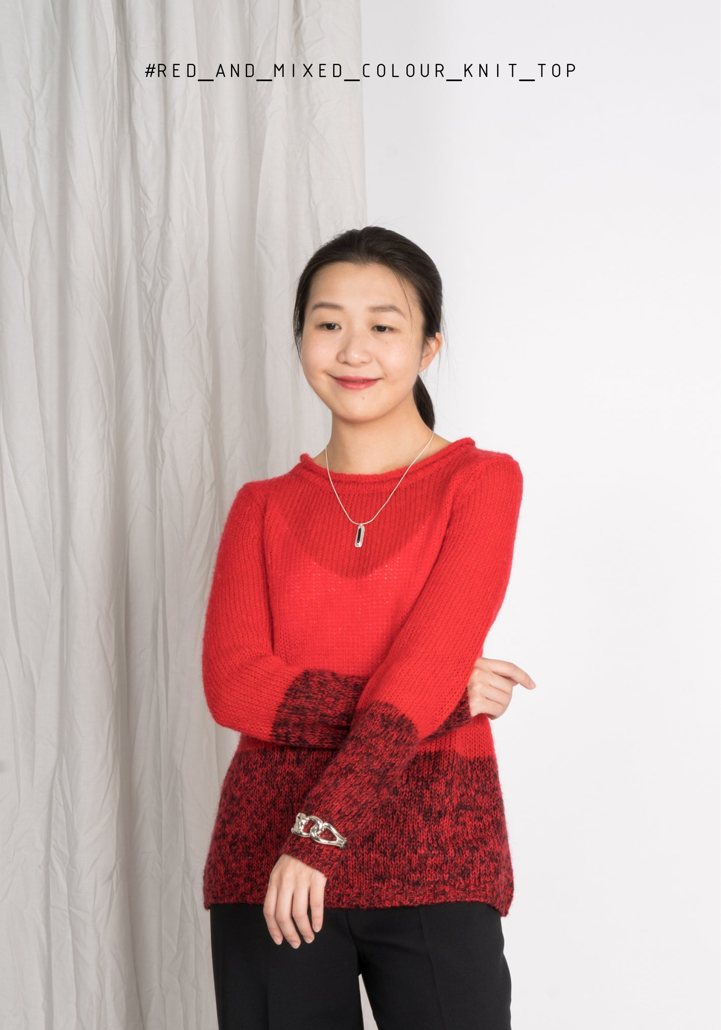 Red and Mixed Colour Knit Top