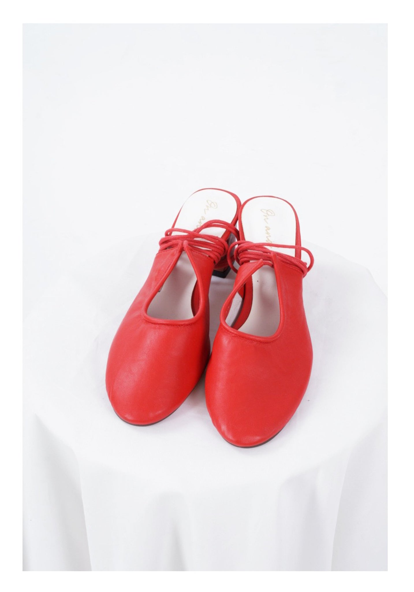 Sample Shoes - Red Lace Up Heels Mules - whoami