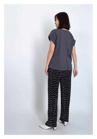 Ribbed Dot Dripping Pants Black - whoami
