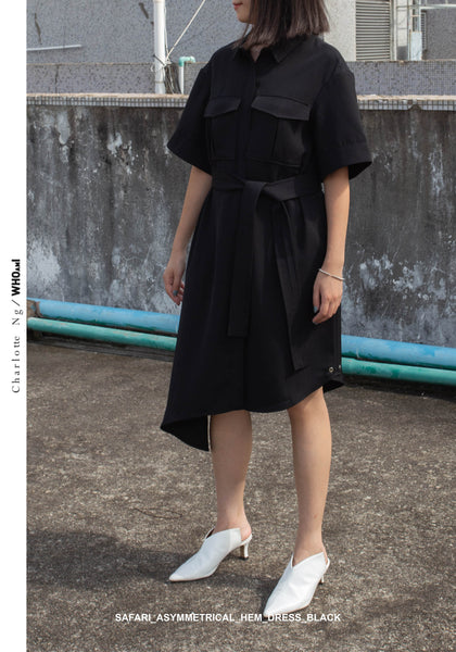 Safari Asymmetrical Hem Dress Black - whoami