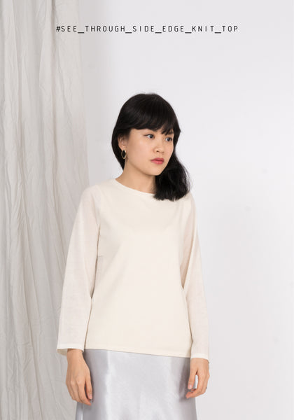 See Through Side Edge Knit Top