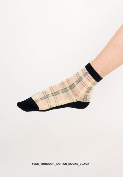 See Through Tartan Socks Black - whoami