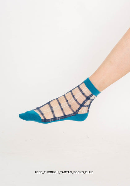 See Through Tartan Socks Blue - whoami
